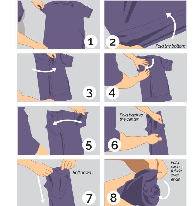 Cách gấp áo sơ mi ngắn tay
