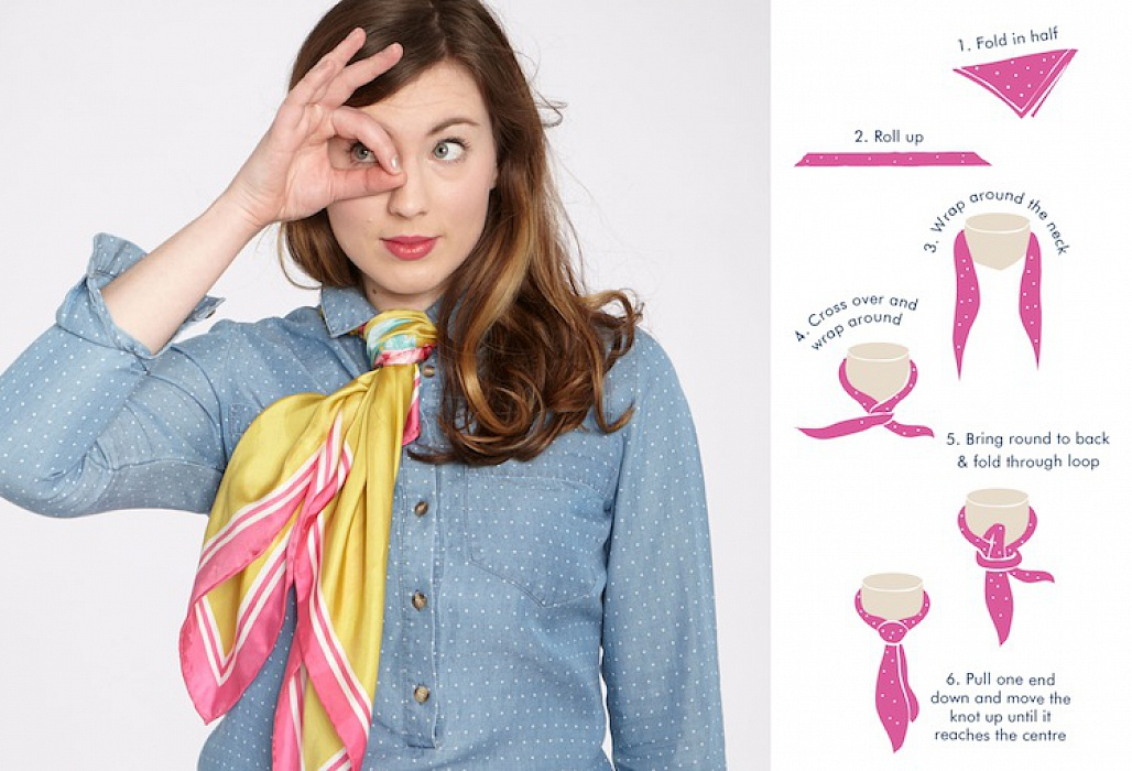 thắt cà vạt nữ bằng khăn độc đáo