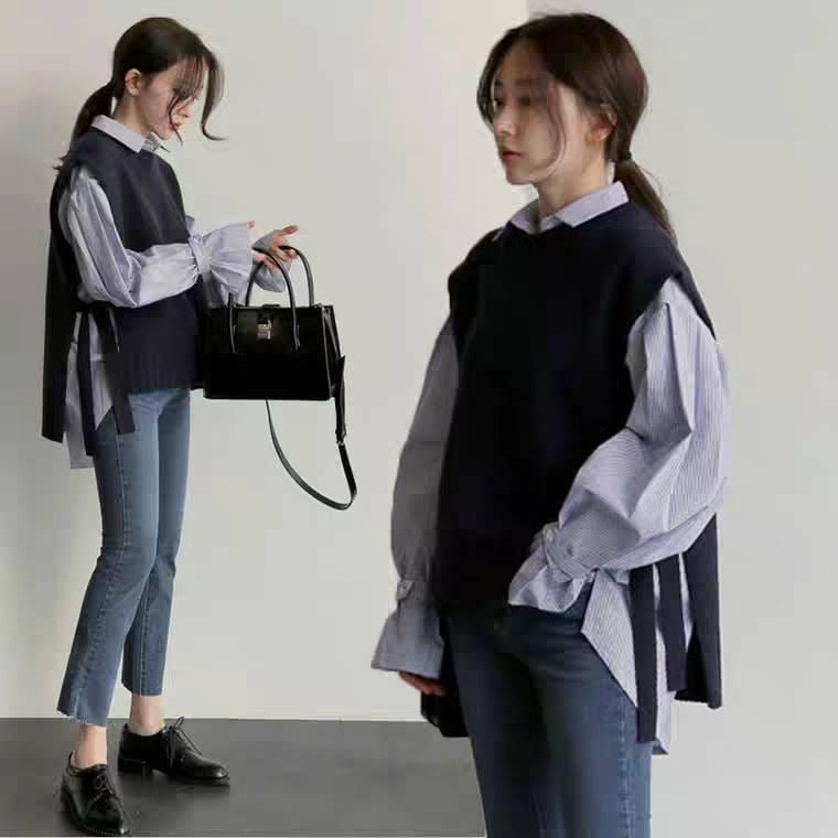áo len cổ tròn thiết kế độc đáo cùng áo sơ mi dài tay