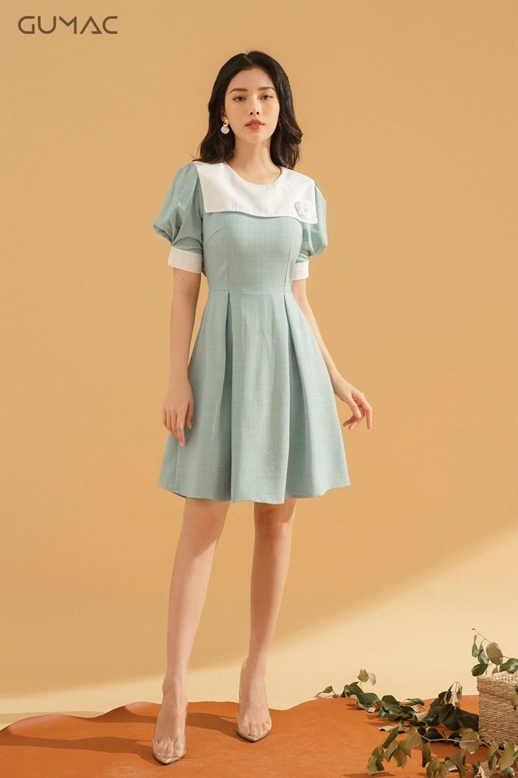 Đầm babydoll thủy thủ vải bố cao cấp màu xanh phối trắng