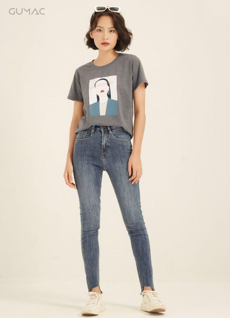 Jean đen ống rách va EQT trắng mix màu nổi bật