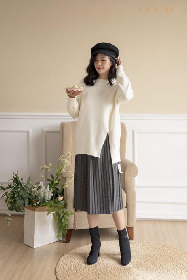phối mũ len với chân váy cùng tông màu