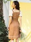 Đầm cổ vuông phối tay che khuyết điểm tối đa