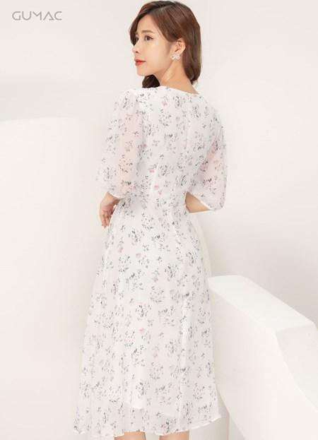 Đầm hoa phối nút bọc