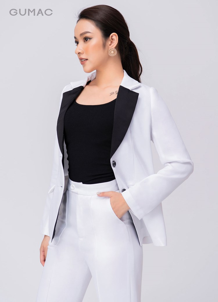 Áo vest phối ve cổ