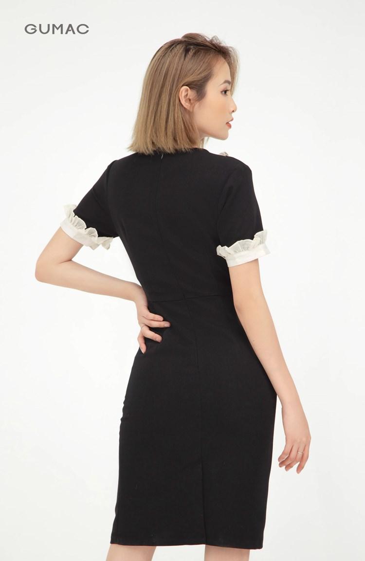 Đầm cổ V phối