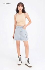 Chân váy jean phối túi