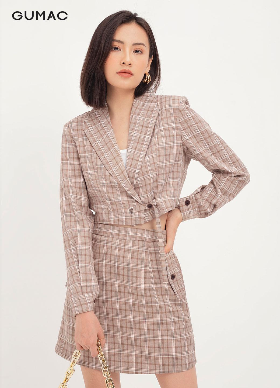 Áo cổ vest dáng ngắn